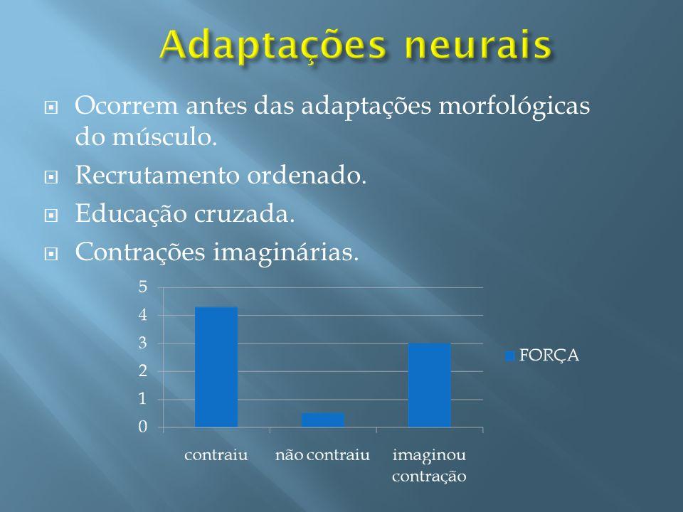 Adaptações neurais Ocorrem antes das adaptações morfológicas do músculo. Recrutamento ordenado. Educação cruzada.