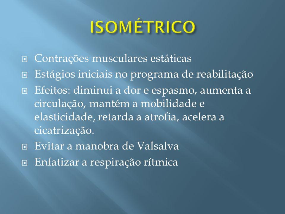 ISOMÉTRICO Contrações musculares estáticas