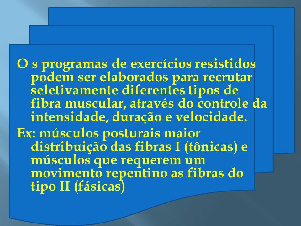O s programas de exercícios resistidos podem ser elaborados para recrutar seletivamente diferentes tipos de fibra muscular, através do controle da intensidade, duração e velocidade.
