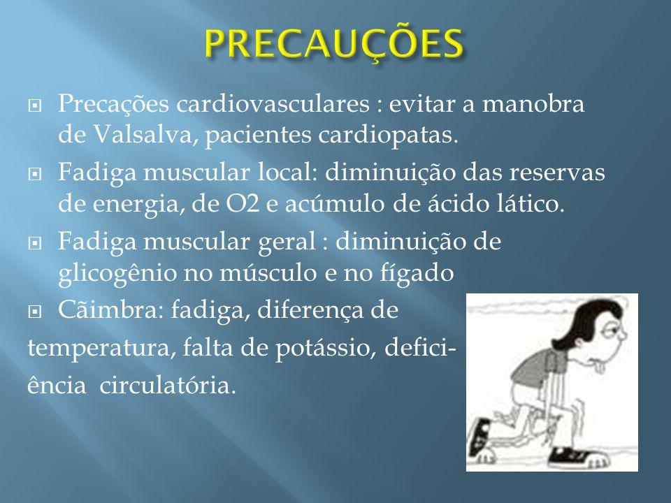 PRECAUÇÕES Precações cardiovasculares : evitar a manobra de Valsalva, pacientes cardiopatas.