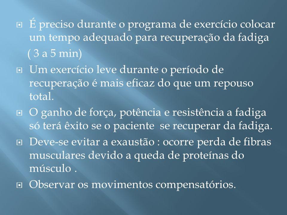 É preciso durante o programa de exercício colocar um tempo adequado para recuperação da fadiga