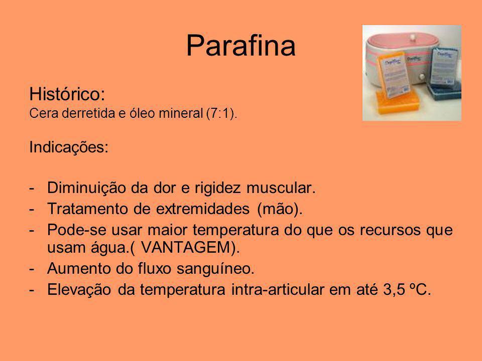 Parafina Histórico: Indicações: Diminuição da dor e rigidez muscular.
