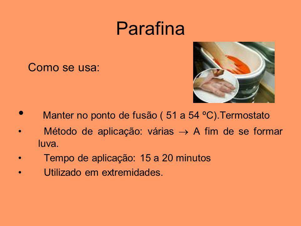 Parafina Manter no ponto de fusão ( 51 a 54 ºC).Termostato
