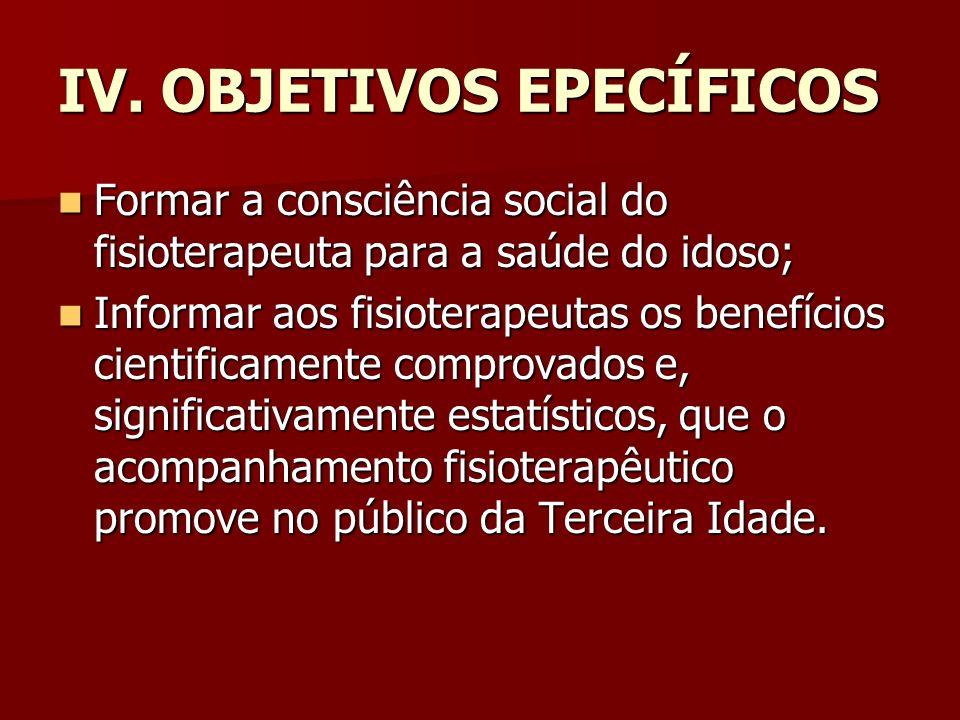 IV. OBJETIVOS EPECÍFICOS