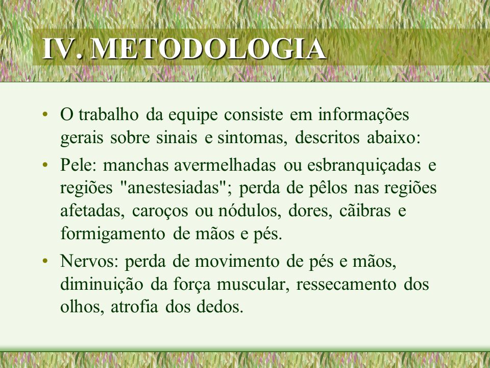 IV. METODOLOGIA O trabalho da equipe consiste em informações gerais sobre sinais e sintomas, descritos abaixo: