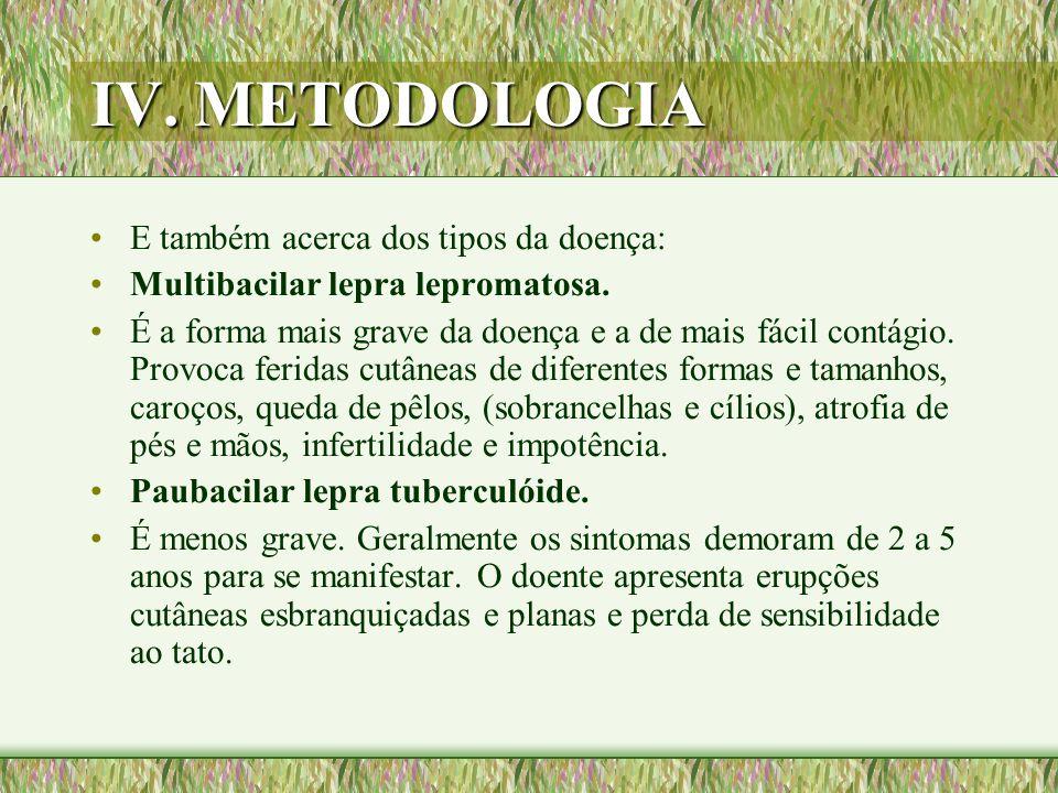 IV. METODOLOGIA E também acerca dos tipos da doença: