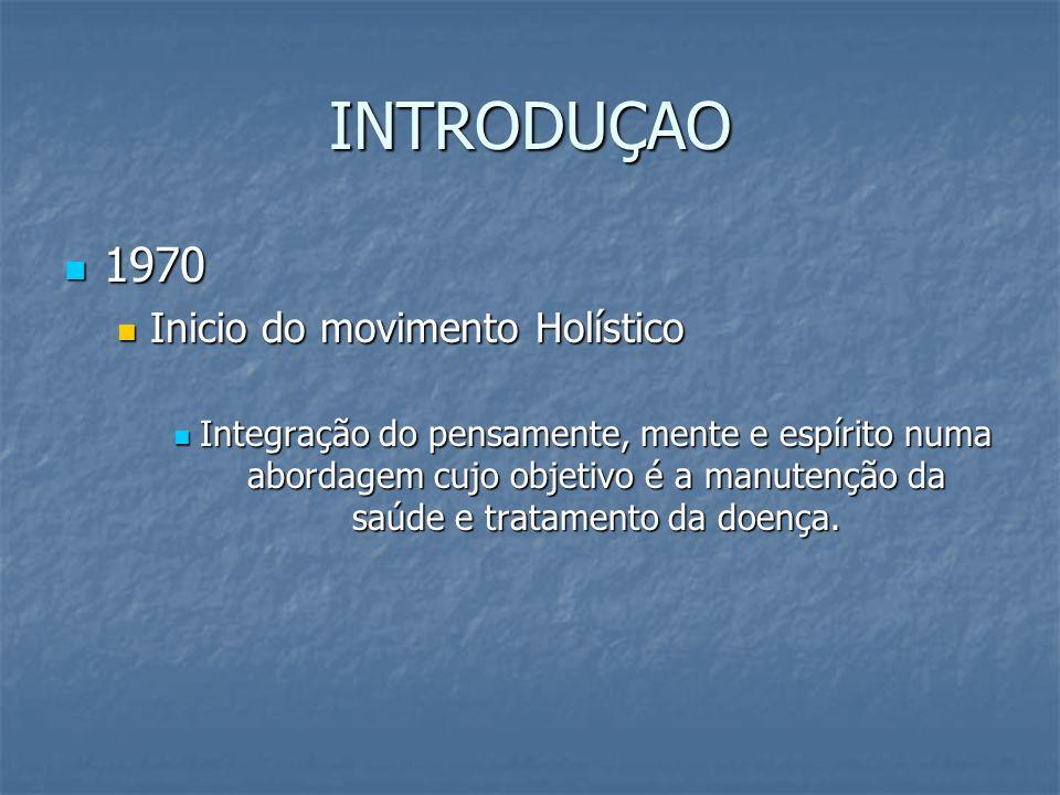 INTRODUÇAO 1970 Inicio do movimento Holístico