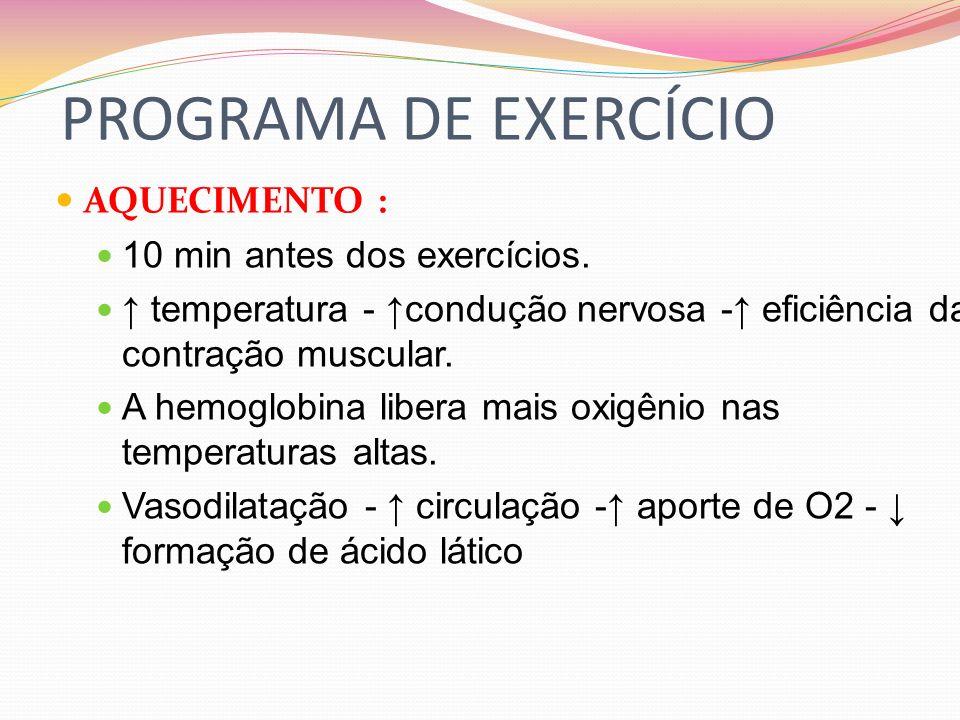 PROGRAMA DE EXERCÍCIO AQUECIMENTO : 10 min antes dos exercícios.