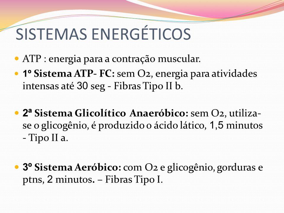 SISTEMAS ENERGÉTICOS ATP : energia para a contração muscular.