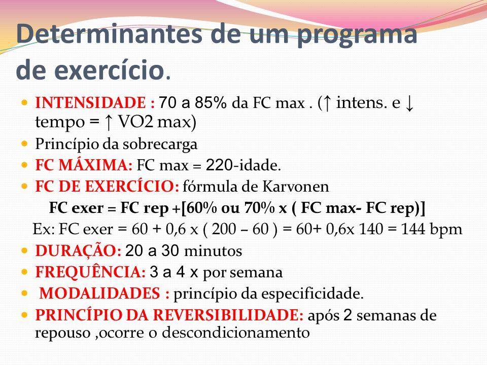 Determinantes de um programa de exercício.