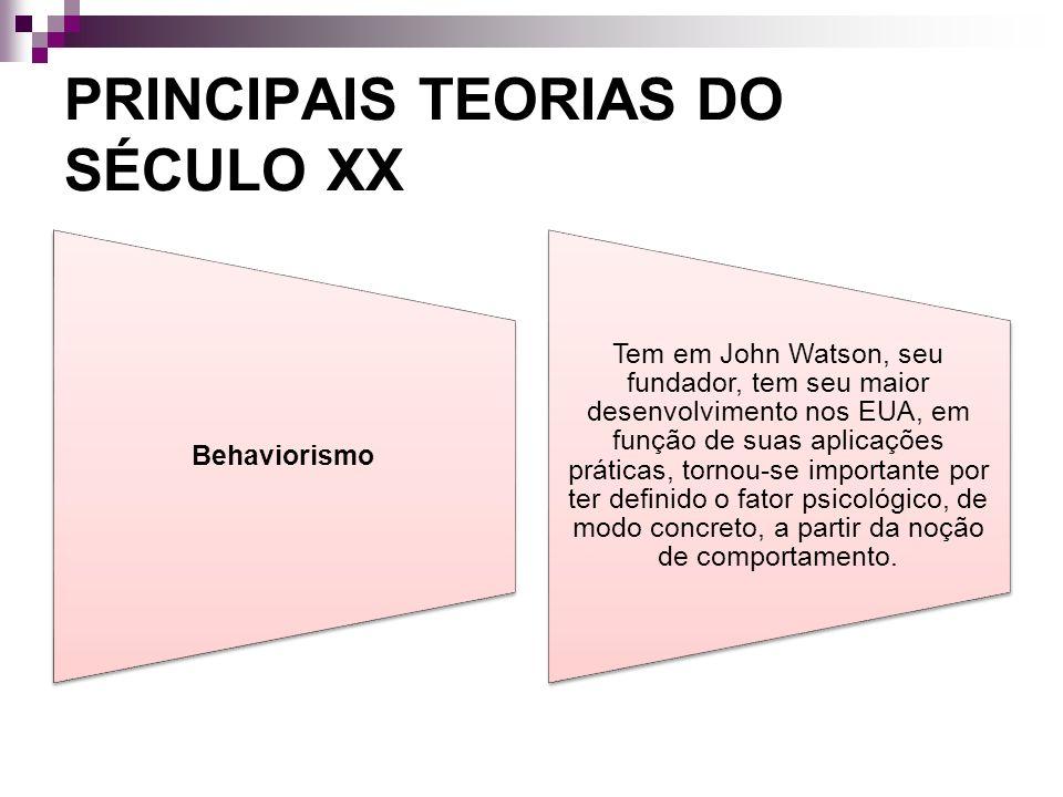 PRINCIPAIS TEORIAS DO SÉCULO XX