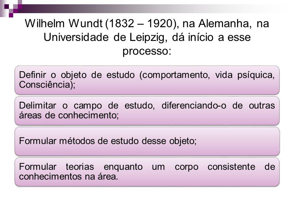 Wilhelm Wundt (1832 – 1920), na Alemanha, na Universidade de Leipzig, dá início a esse processo: