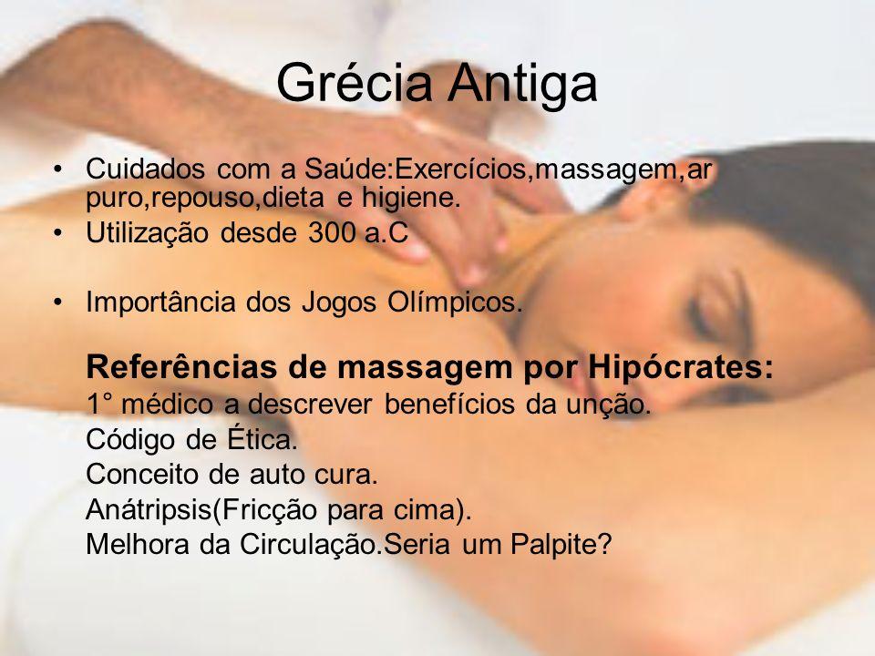 Grécia Antiga Cuidados com a Saúde:Exercícios,massagem,ar puro,repouso,dieta e higiene. Utilização desde 300 a.C.