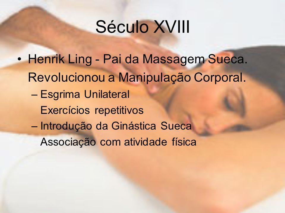 Século XVIII Henrik Ling - Pai da Massagem Sueca.