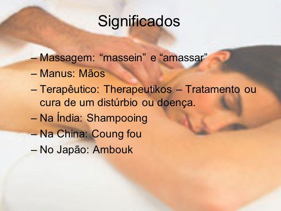 Significados Massagem: massein e amassar Manus: Mãos