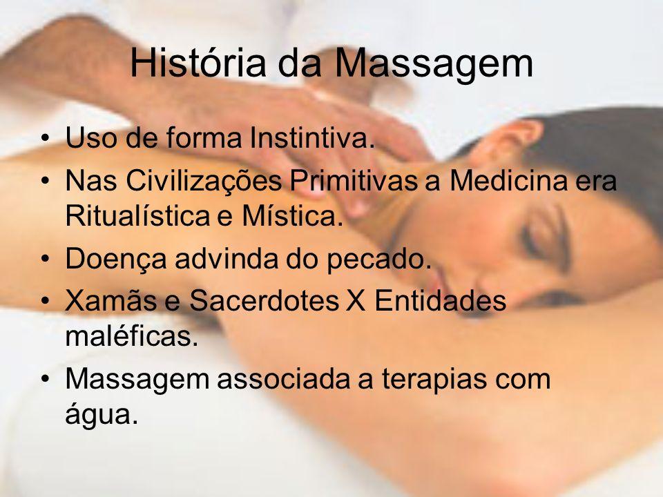 História da Massagem Uso de forma Instintiva.