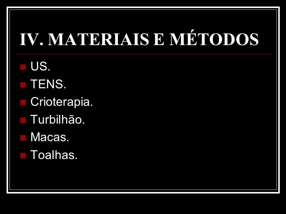 IV. MATERIAIS E MÉTODOS US. TENS. Crioterapia. Turbilhão. Macas.