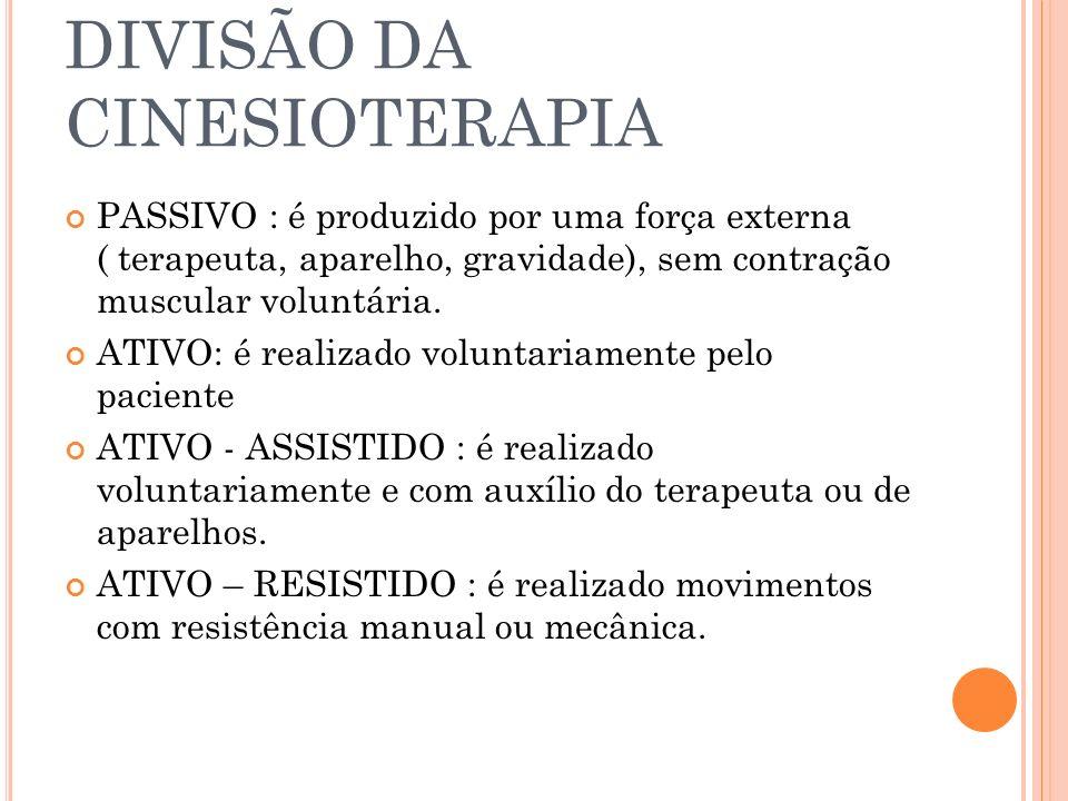 DIVISÃO DA CINESIOTERAPIA