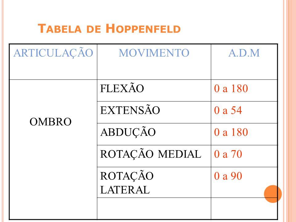 Tabela de Hoppenfeld ARTICULAÇÃO MOVIMENTO A.D.M OMBRO FLEXÃO 0 a 180