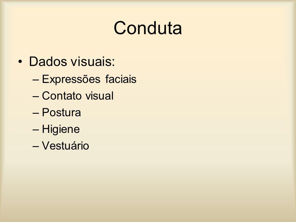 Conduta Dados visuais: Expressões faciais Contato visual Postura