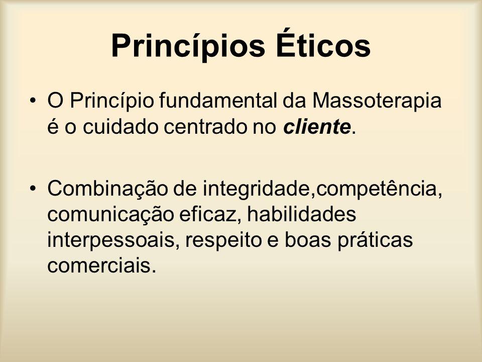 Princípios Éticos O Princípio fundamental da Massoterapia é o cuidado centrado no cliente.