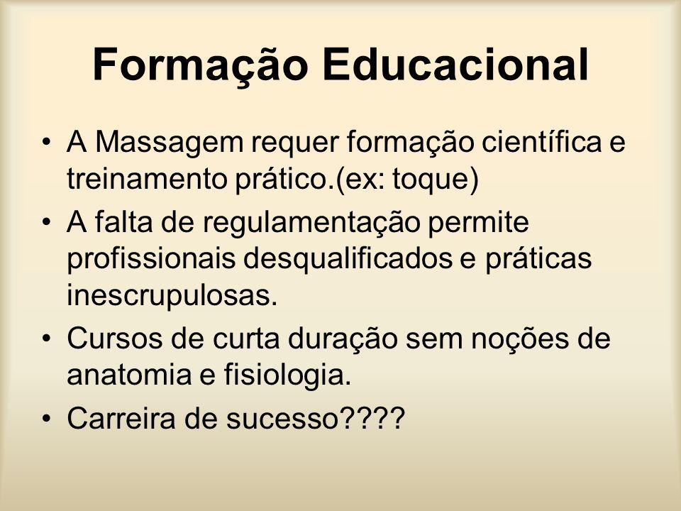 Formação Educacional A Massagem requer formação científica e treinamento prático.(ex: toque)