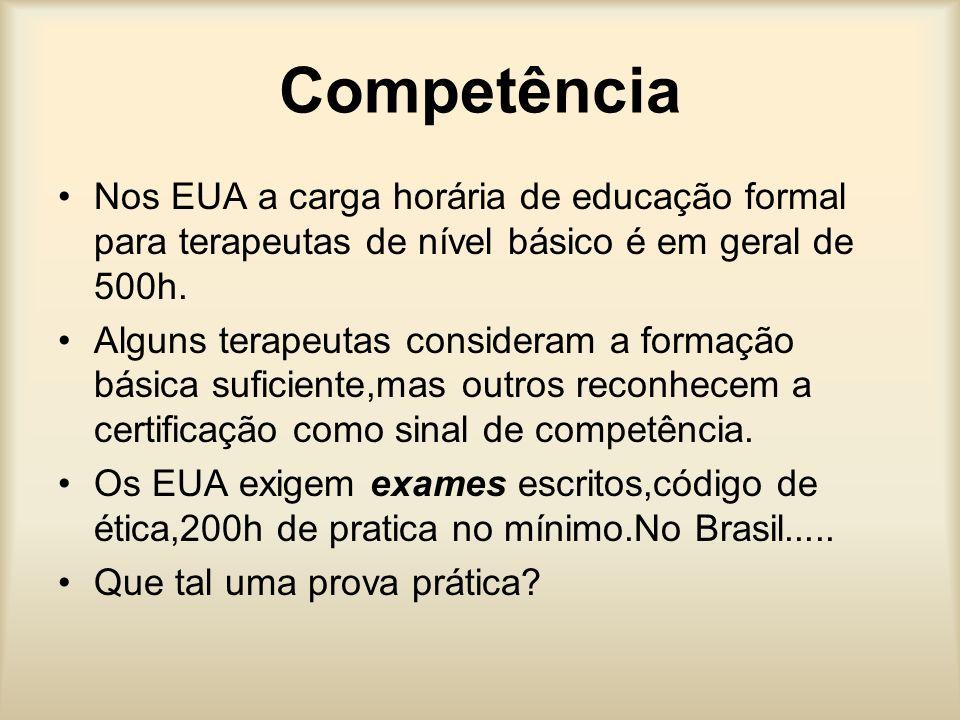 CompetênciaNos EUA a carga horária de educação formal para terapeutas de nível básico é em geral de 500h.