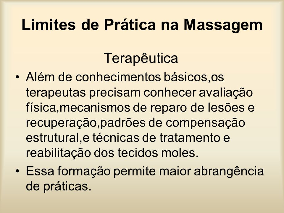 Limites de Prática na Massagem