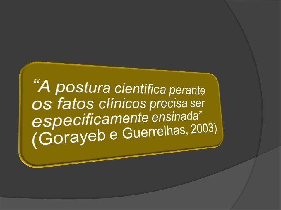 A postura científica perante os fatos clínicos precisa ser especificamente ensinada (Gorayeb e Guerrelhas, 2003)