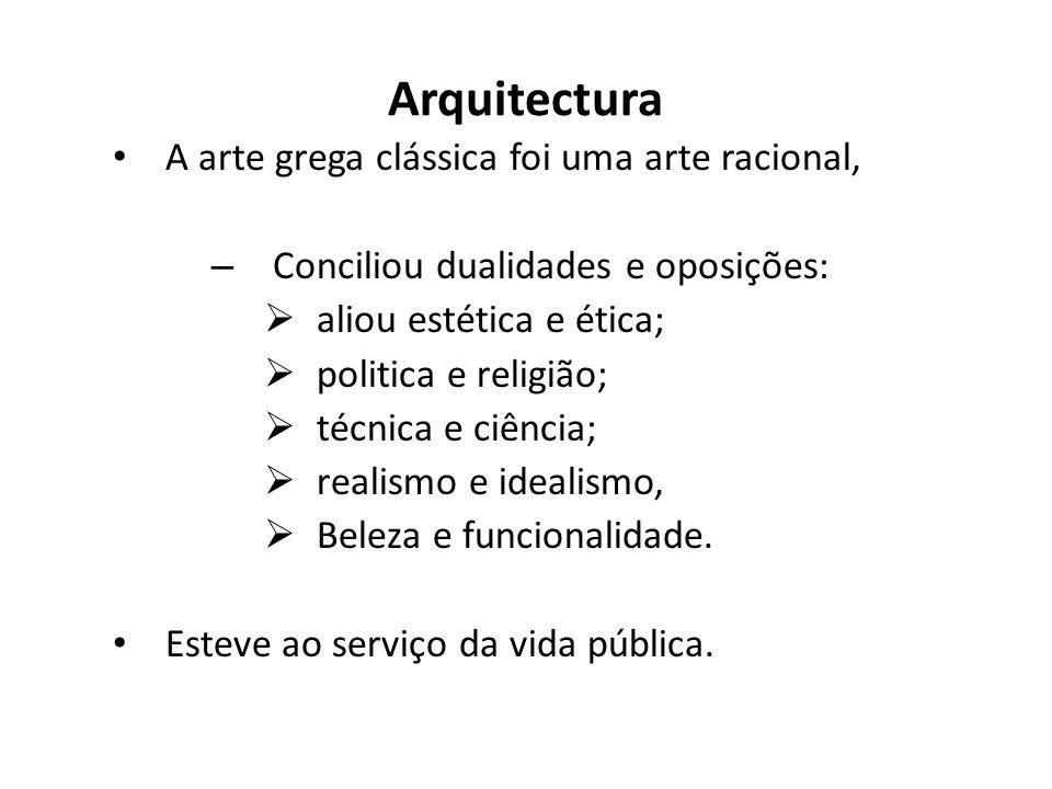 Arquitectura A arte grega clássica foi uma arte racional,