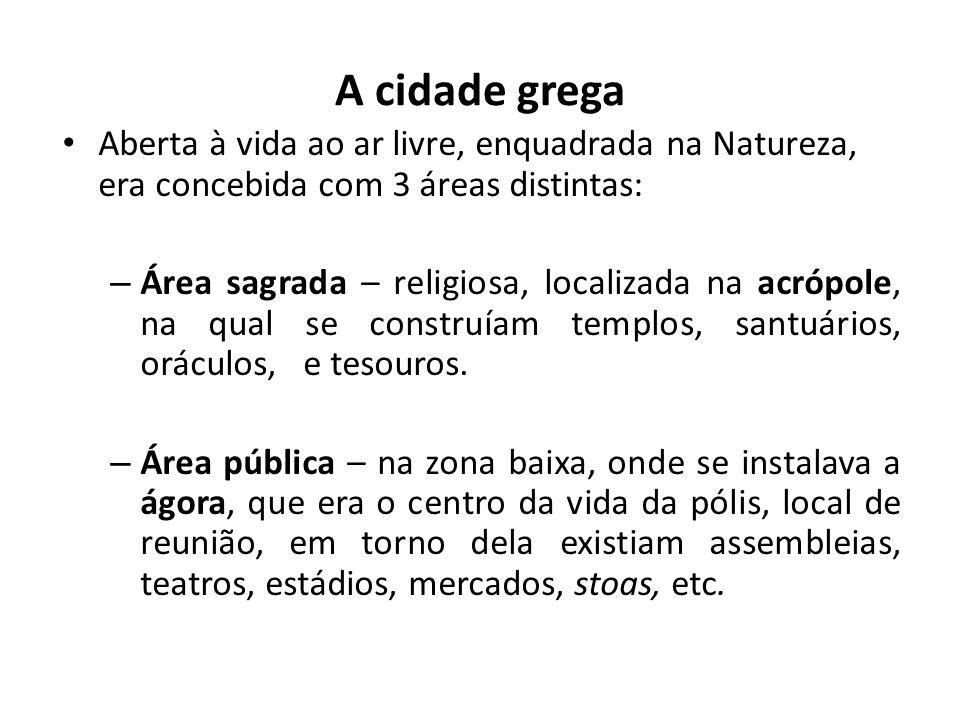 A cidade grega Aberta à vida ao ar livre, enquadrada na Natureza, era concebida com 3 áreas distintas: