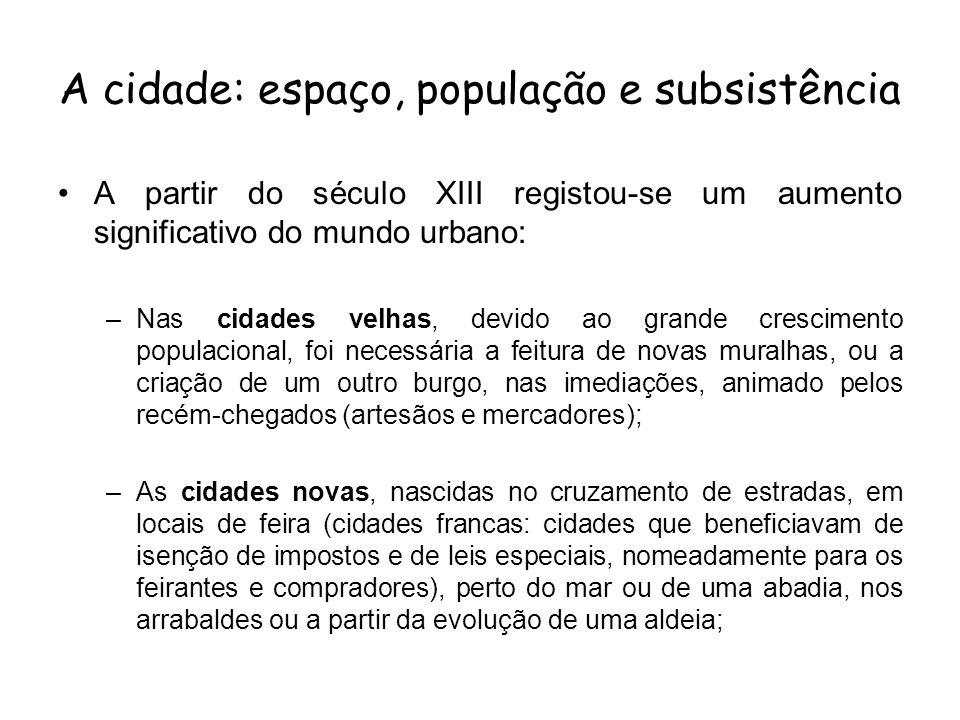 A cidade: espaço, população e subsistência