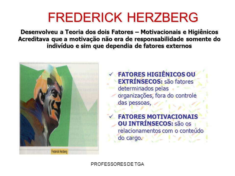FREDERICK HERZBERG Desenvolveu a Teoria dos dois Fatores – Motivacionais e Higiênicos.