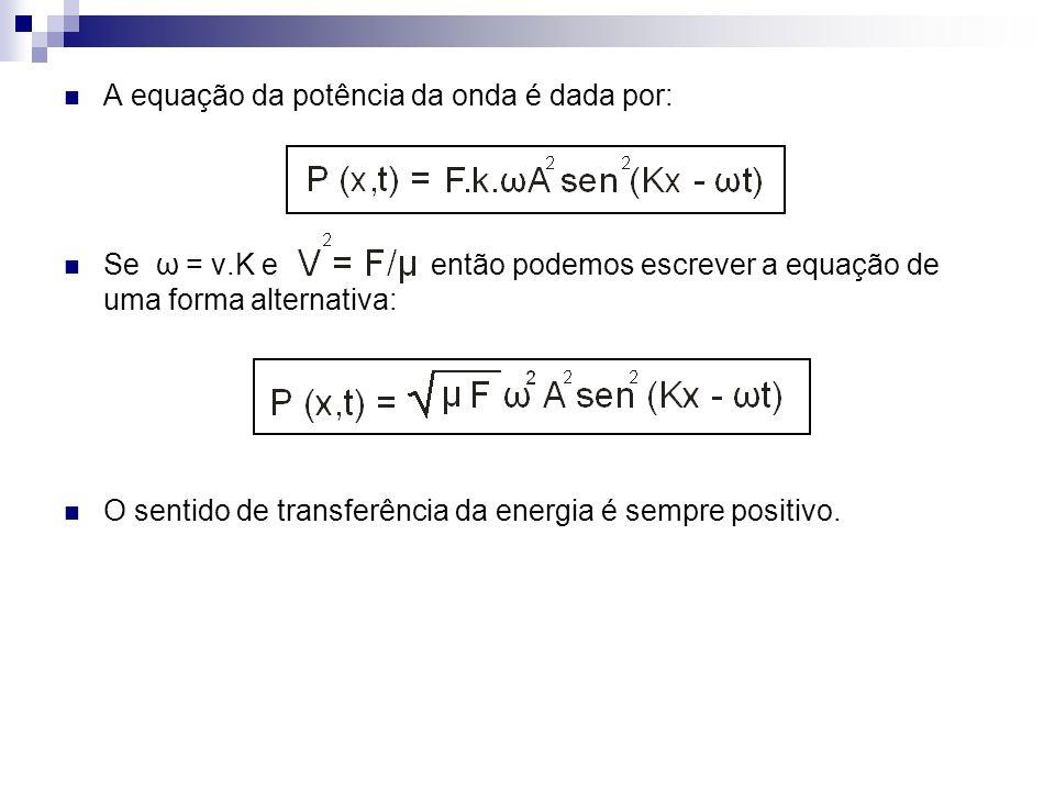 A equação da potência da onda é dada por: