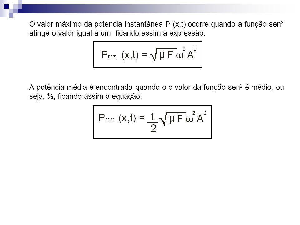 O valor máximo da potencia instantânea P (x,t) ocorre quando a função sen2 atinge o valor igual a um, ficando assim a expressão: