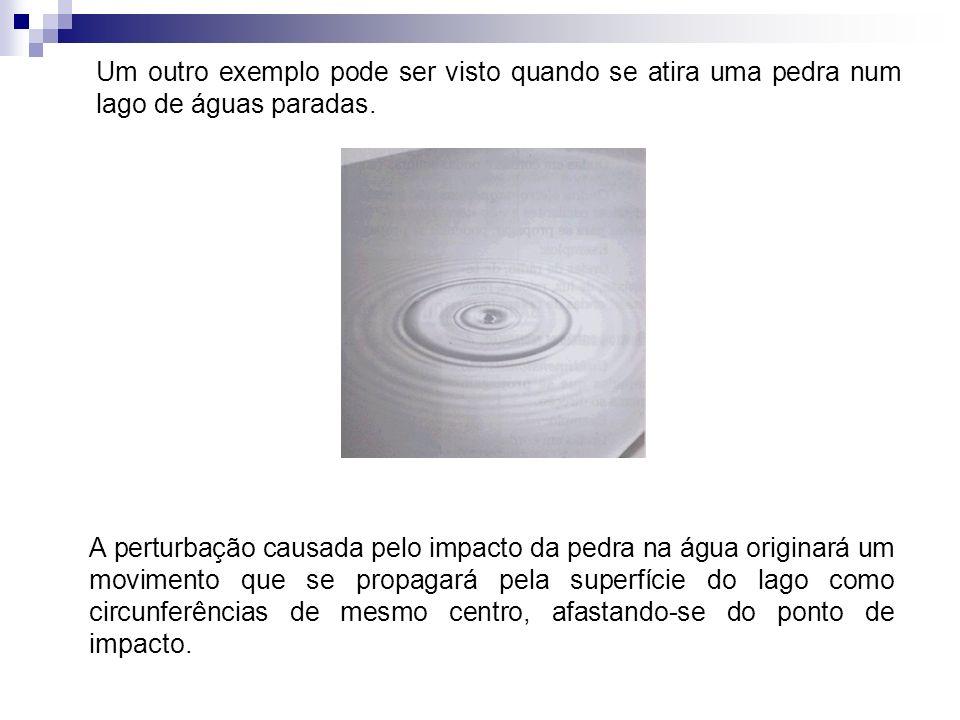 Um outro exemplo pode ser visto quando se atira uma pedra num lago de águas paradas.
