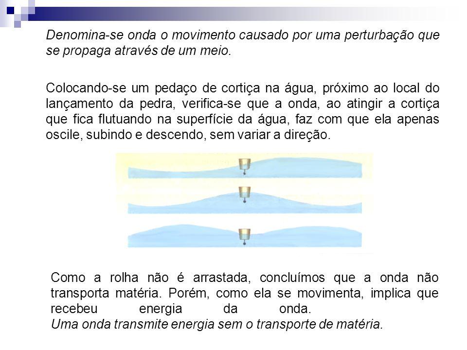 Denomina-se onda o movimento causado por uma perturbação que se propaga através de um meio.