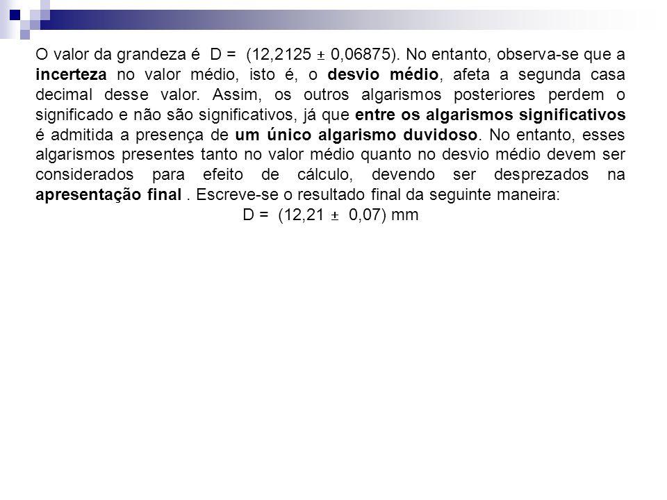 O valor da grandeza é D = (12,2125  0,06875)
