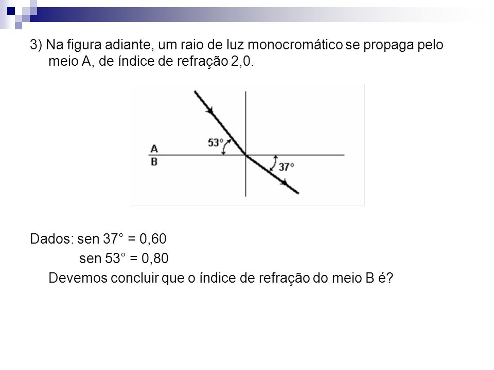 3) Na figura adiante, um raio de luz monocromático se propaga pelo meio A, de índice de refração 2,0.