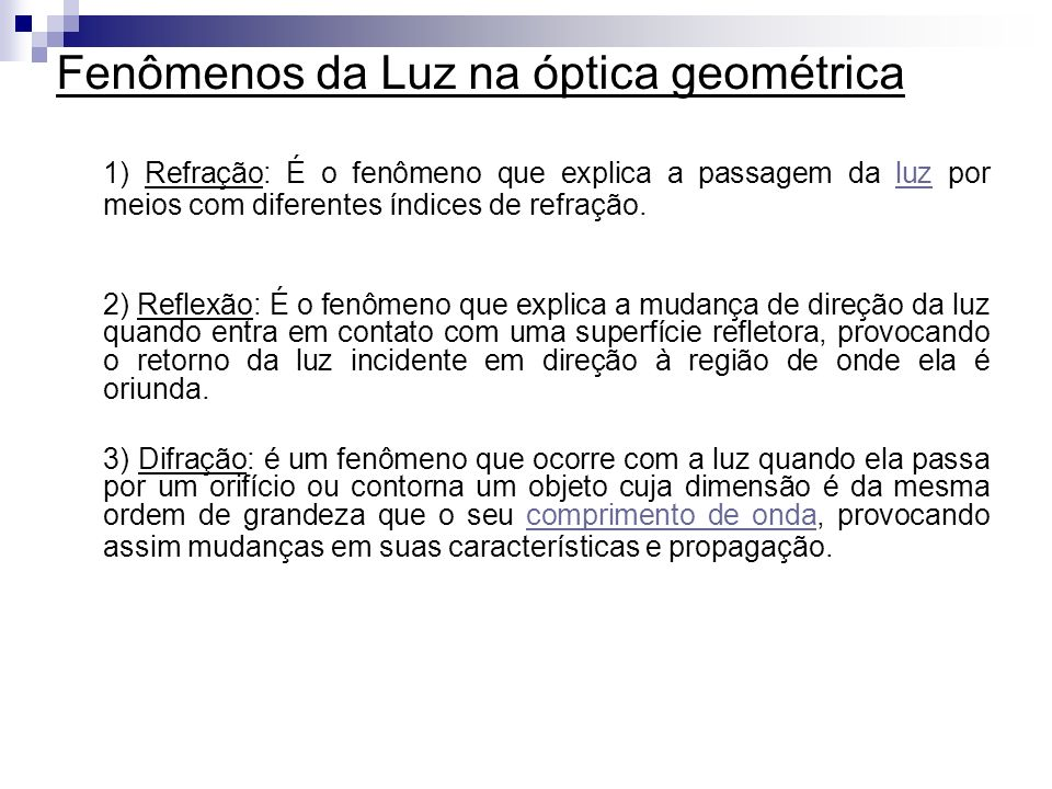 Fenômenos da Luz na óptica geométrica