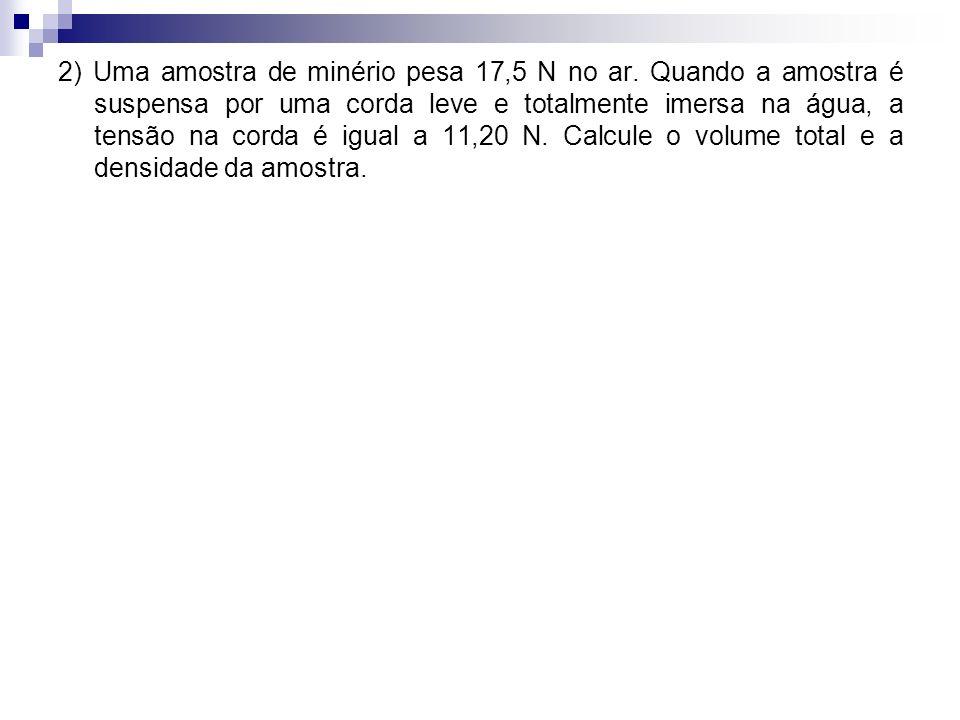 2) Uma amostra de minério pesa 17,5 N no ar
