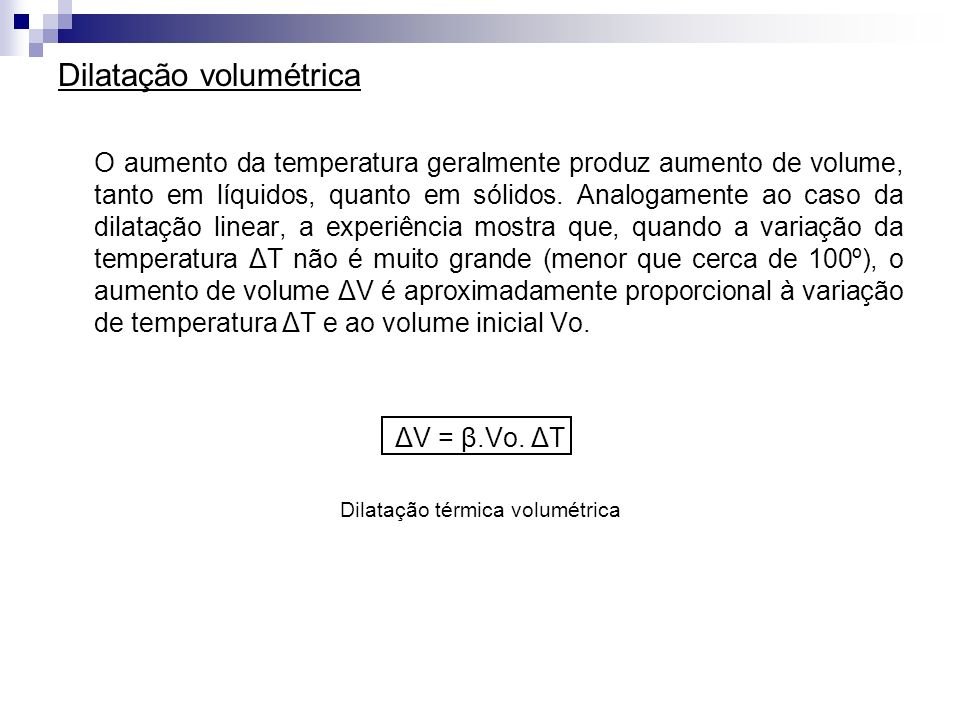 Dilatação térmica volumétrica