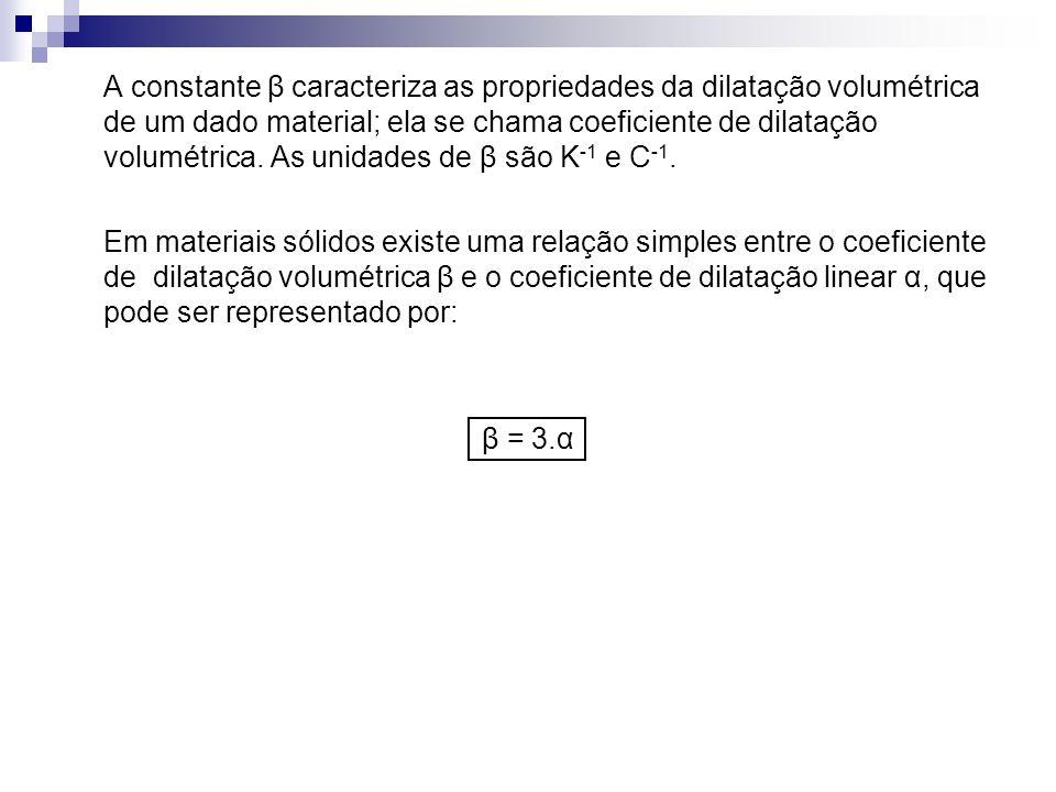 A constante β caracteriza as propriedades da dilatação volumétrica de um dado material; ela se chama coeficiente de dilatação volumétrica. As unidades de β são K-1 e C-1.