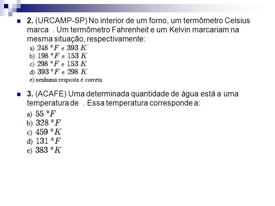 2. (URCAMP-SP) No interior de um forno, um termômetro Celsius marca
