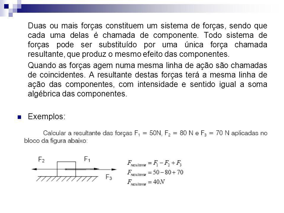 Duas ou mais forças constituem um sistema de forças, sendo que cada uma delas é chamada de componente. Todo sistema de forças pode ser substituído por uma única força chamada resultante, que produz o mesmo efeito das componentes.