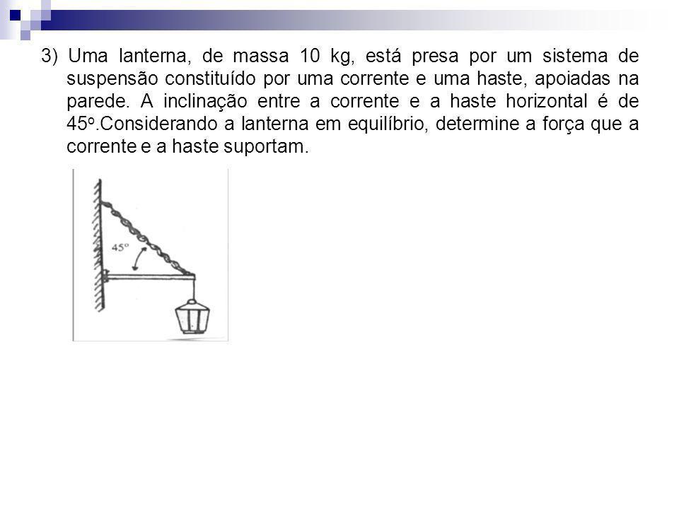 3) Uma lanterna, de massa 10 kg, está presa por um sistema de suspensão constituído por uma corrente e uma haste, apoiadas na parede.