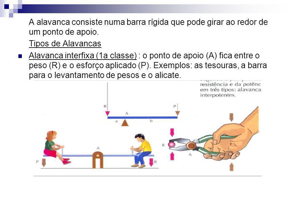A alavanca consiste numa barra rígida que pode girar ao redor de um ponto de apoio.