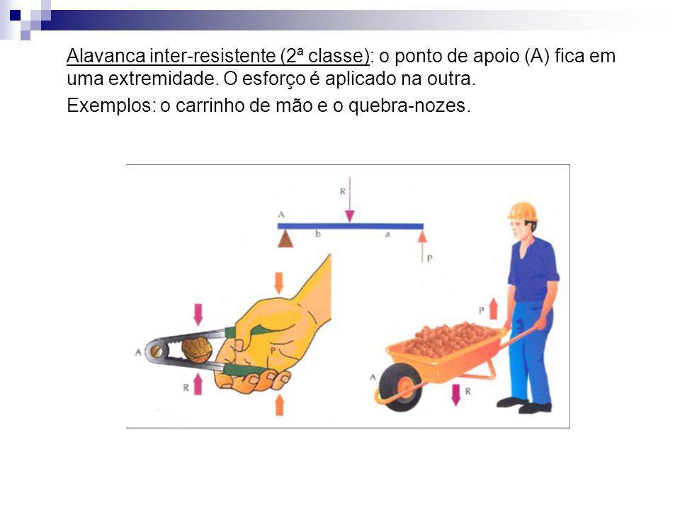 Alavanca inter-resistente (2ª classe): o ponto de apoio (A) fica em uma extremidade. O esforço é aplicado na outra.