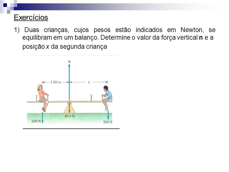 Exercícios 1) Duas crianças, cujos pesos estão indicados em Newton, se equilibram em um balanço. Determine o valor da força vertical n e a.