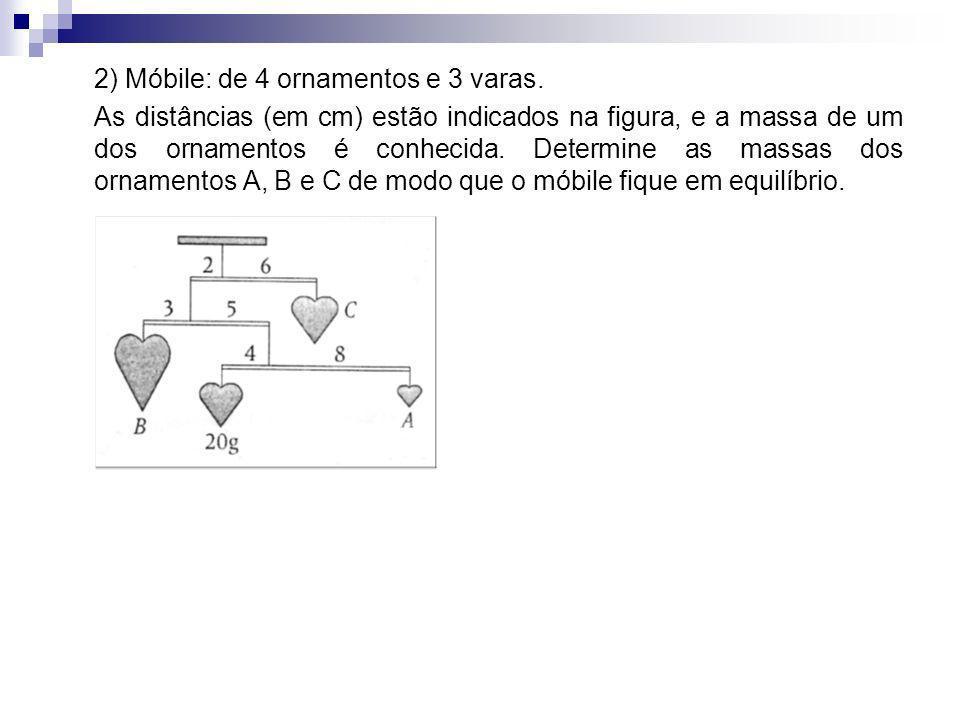 2) Móbile: de 4 ornamentos e 3 varas.